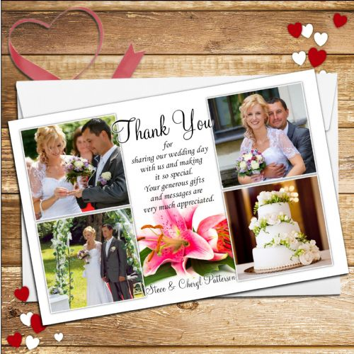 10 Personalised Pink Lily Wedding Thank you Photo cards N83